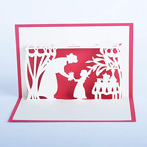 Newmybest Grußkarten Muttertag 3D Geburtstagskarte Mama Special Papier Ist Kurz und Lang LOVEPOP Card (Rot)