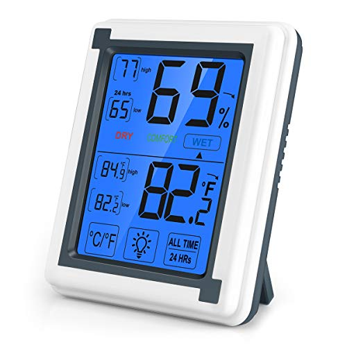 ORIA Digitales Thermometer Hygrometer, Touchscreen Thermo-Hygrometer Innen mit Hintergrundbeleuchtung, LCD-Bildschirm, Trend, MIN/MAX-Aufzeichnungen, °C/°F-Schalter, für Zuhause, Büro, Gewächshaus
