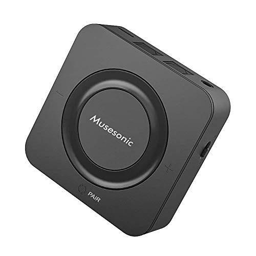 Musesonic Bluetooth 5.0 Transmitter and Receiver Digital Optical SPDIF TOSLINK and 3.5mm Aux RCA Wireless Audio Adapter for TV/Home Stereo System, Supports Low Latency and HD Audio (Black)