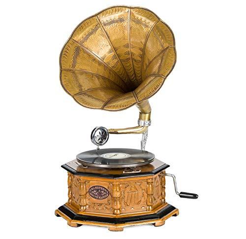 Grammofono a Tromba con Piatto in ceralacca Stile Antico