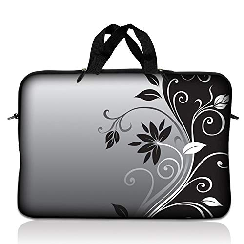 LSS 14.1 inch Laptop Sleeve Bag Carrying Case Pouch with Handle for 14' 14.1' Apple Macbook, GW, Acer, Asus, Dell, Hp, Sony, Toshiba, Gray Black Swirl Floral