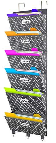 VERONLY Hängeorganizer tür Wand Aufbewahrungstaschen Wandmontage Aufbewahrungsfach Datei Ordner Tasche für Büro,Schule oder Zuhause Grau