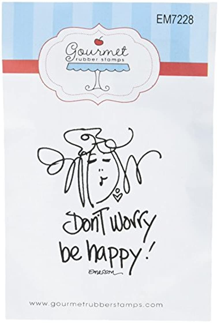 Gourmet Rubber Stamps Don't Worry Be Happy Cling Stamps, 2.75 x 4.75