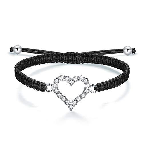 J.Endéar Handmade Braided Bracelet, Heart 925 Silver Inlaid with Zirconia Filigree Rope Chain Bracelet for Women Girls