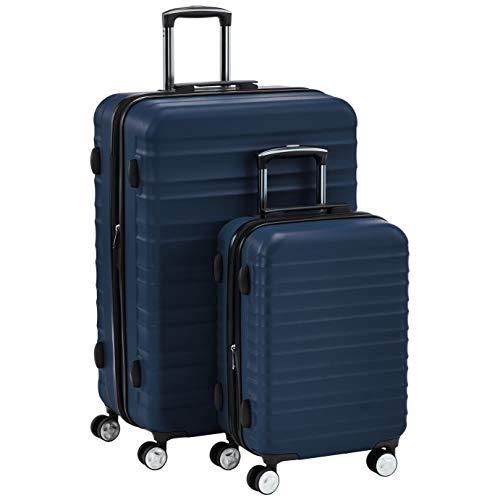AmazonBasics Premium Hardside Spinner Suitcase Luggage with Wheels - 20-Inch, 28-Inch, Navy Blue