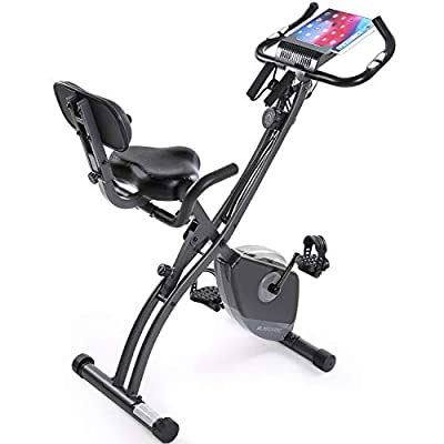 Exercise Bike Stationary Bike Foldable Magnetic UprightRecumbent Portable Fitness Cycle with Arm Resistance Bands Extra-large Adjustable Seat Pulse 3-in-1 Cycling Indoor Trainer for Home