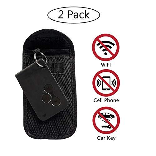 ECENCE 2X Keyless Go Schutz Autoschlüssel Tasche RFID Abschirmung Diebstahl Schutzhülle Schwarz 12010103