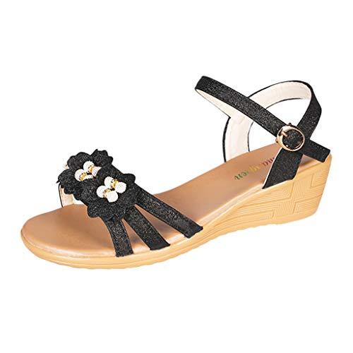 VJGOAL dames sandalen met hak zomer mode party hoge hakken vrouwen bloem wig strandsandalen Romeinse schoenen