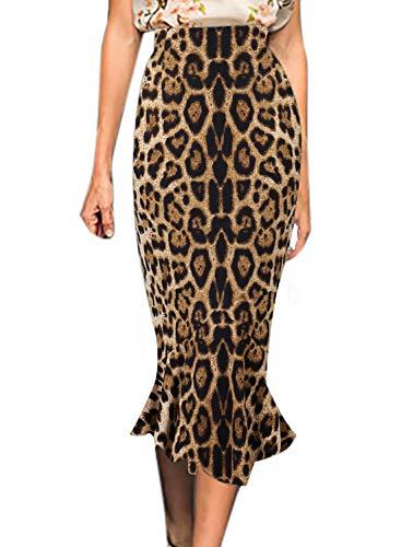 VFSHOW Womens Brown Leopard Print Vintage High Waist Work Business Mermaid Midi Pencil Skirt 2852 Leo XL