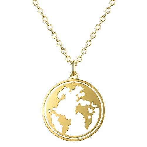 CHAMOON ® Kette Weltkarte aus 925 Sterling Silber Gold Vergoldet für Damen mit Drehbarem Weltkugel-Anhänger (Länge 45 cm)