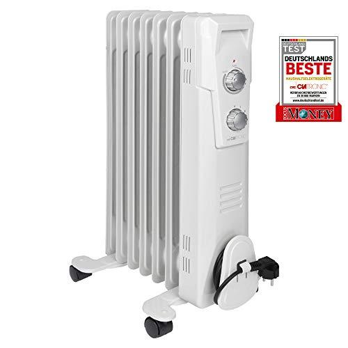 Clatronic RA 3735 7 Ribs-olieradiator, mobiele radiator tot 1500 watt, warmteregulering via traploze thermostaatregelaar, flexibel gebruik door 4 lichtlopende wielen, Slimline-constructie, wit