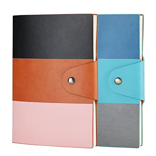2Pcs Quaderno A5 ZEEYUAN in carta spessa premium con portapenne in pelle PU per agenda 140 pagine