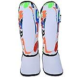 Espinilleras, Protector de piernas para niños Espinilleras Equipo de protección Protectores de pies para Boxeo Muay Thai Taekwondo Training S Size(Blanco)