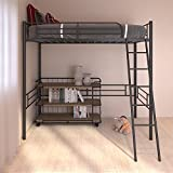 Twin Metal Loft Bed, Heavy Duty Metal Twin Loft Bed with Ladder and High Safety Guard Rails, Multifunctional Modern Loft Bed for Kids Teens Adult, Black