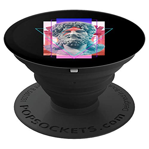 Vaporwave King Zues Statue With Lightning Bolt Face Art PopSockets Grip and Stand for Phones and Tablets