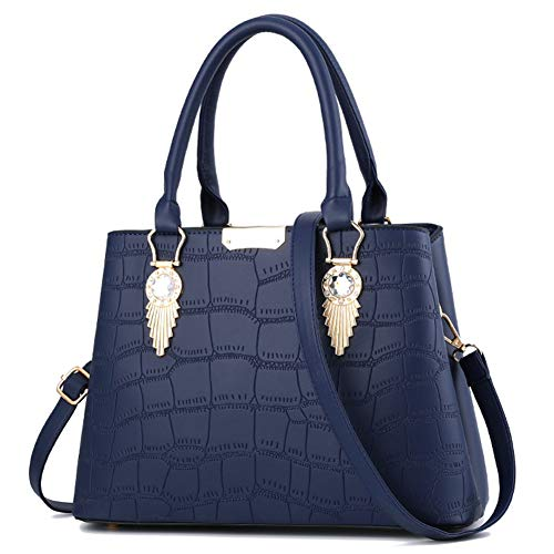 JHVYF Women Claissic Top Handle Handbag Crossover Casual Pu Leather Purse Fashion Shoulder Bag #G Navy Blue