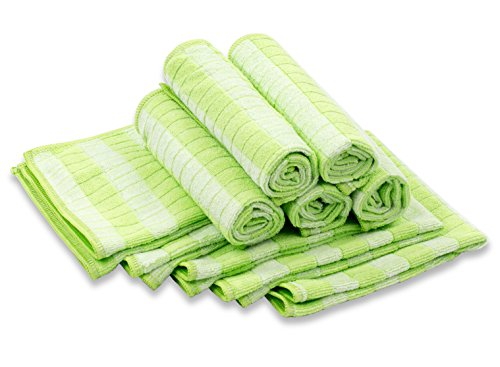 RESPEKT Mikrofaser Bamboo Geschirrtücher, Trockentücher, Putztücher und Reinigungstücher für den Haushalt, das Auto uvm. - 10tlg. Mikrofaser Geschirrtücher Set in grün, 30x30 cm