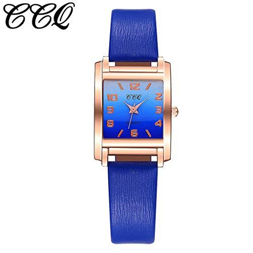 Uhr Armbanduhren Männer Damenuhren Hanseeschlanke Minimalistische Geometrische Quadratische Quarzuhr Aus Mattem Leder Mit Farbverlaufuhren Wrist Watches(B)