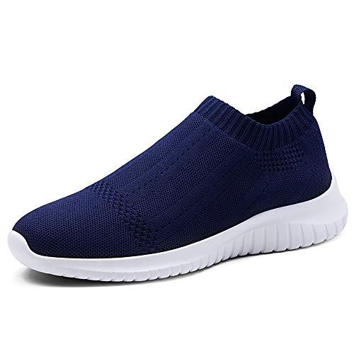 TIOSEBON Women's Walking Sock Shoes Lightweight Slip on Breathable Yoga Sneakers 5 US Navy