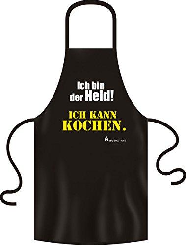 RAHMENLOS No-Compromise ® Grillschürze Schürze Latzschürze Bistroschürze Küchenschürze Kochschürze BBQ (Ich bin der Held Schürze)