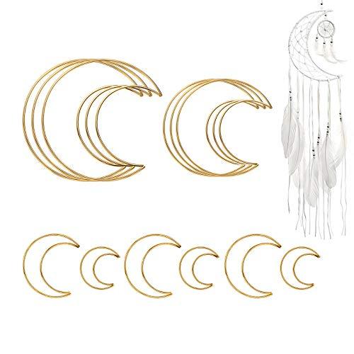 Gukasxi 12 Stück Gold Metallring Makramee Floral Hoops Ringe Kranz für Kranz Hochzeit Dekor, Traumfänger und DIY Handwerk Basteln (Gold Mond)