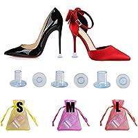 60 Pares Protectores Tacones Transparentes Protector de Tacón Alto Salvatacones para Hierba Tablones Guijarros Rejillas, 3 Tamaños Protectores Zapatos de Mujer para Razas Bodas Ocasione Formale