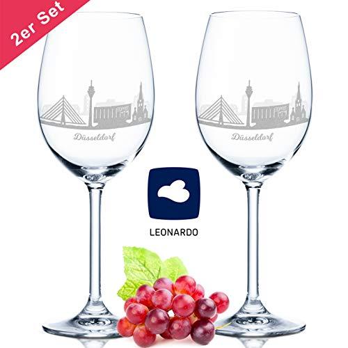 Leonardo Weinglas mit Gravur - Skyline Düsseldorf im Set - Geschenk für Anspruchsvolle & Weingenießer - Souvenir Andenken Stadt Mitbringsel - Geburtstagsgeschenk Weihnachtsgeschenk