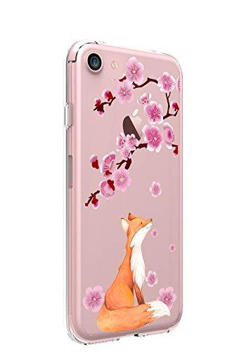 Ftonglogy Mädchen Hülle für iPhone SE 2020, [1,5 m Fallsicher] Süße klare Blume Frauen Design Handyhülle für iPhone 7/8/SE2 (Fuchs Kirschblüten)