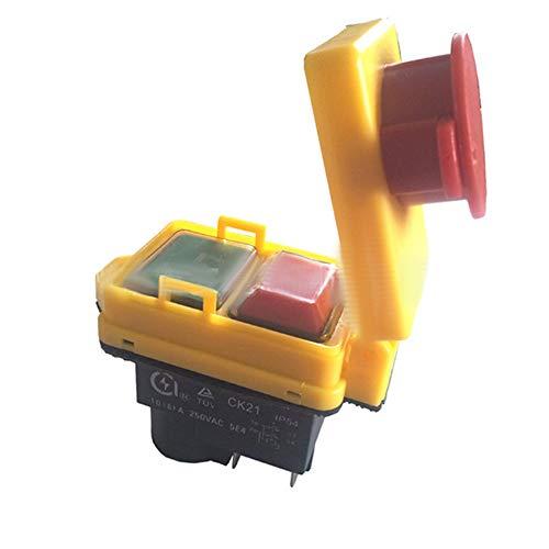 Merssavo 1 * Interruptor de Seguridad Universal Parada de Emergencia Corte Seguro Interruptores electromagnéticos Impermeables a Prueba de Polvo para moler CK21D / 250V