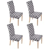 Smiry Chair Covers for Dining Room Set of 4, Morocco Printed Stretchy Dining Room Chair Covers, Washable Parsons Chair Slipcovers for Kitchen, Home, Party (Grey)
