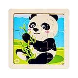 Nologo KLSK Minigröße 11 * 11cm Spielzeug Holz-Puzzle 3D-Puzzle aus Holz Puzzle Karikatur Tier/Verkehr pädagogisches Spielzeug (Farbe : Schwarz)