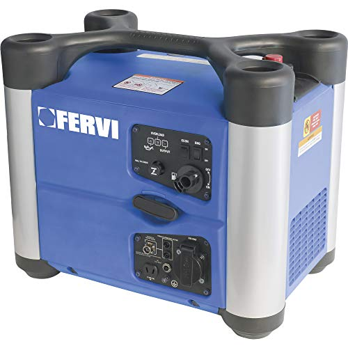 Fervi GI01/20 Generatore Inverter, 2 kVA, 1600 W, Cyan/Gris/Negro