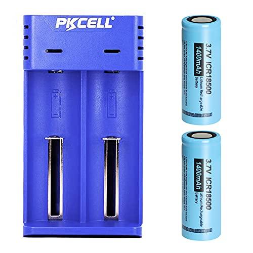 2 batterie agli ioni di litio da 3,7 V 18500 1400 mAh con 2 caricabatterie universale intelligente per 17670 18490 17500 18350 10440