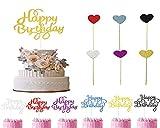 Topper de Tarta Decoración, Forma 30pcs del corazón de la Torta Toppers + 30 pcs Happy Birthday Cake Topper para Pasteles, Fiesta de Cumpleaños DIY Decoración Suministros
