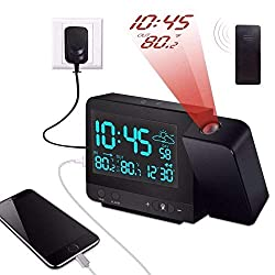 Projection Alarm Clock on Ceiling Wall with Indoor/Outdoor Thermometer Hygrometer, Weather Station, Dual Alarm, Colorful Backlight, and USB Charging for Bedroom
