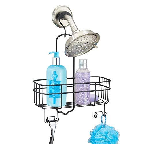 mDesign Estantería de ducha para colgar sin taladro – Estantería metálica con cesta de almacenaje y 4 ganchos – Estantería para ducha ampliable – Ideal para ahorrar espacio en la ducha – negro mate
