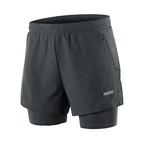 ARSUXEO Men's 2 in 1 Running Shorts Breathable Zipper Pocket B202 Dark Grey Size Medium