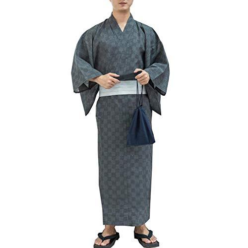 Kimono japonés Yukata japonés para Hombre Pijama de túnica casera Bata Talla M-D1