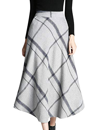 Tanming Women's Winter Warm Elastic Waist Wool Plaid A-Line Pleated Long Skirt (Gray, Small)