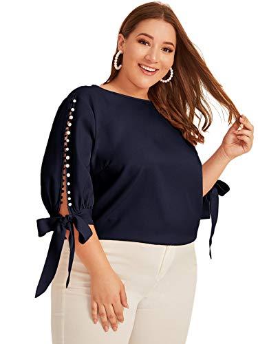 Romwe Blusa de manga 3/4 para mujer, talla grande, con cuentas y nudo, rosa, pastel.