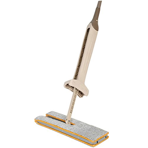 Balai, OVERMAL Double-face Lavage sans main à la main Mop pliant en bois Mop à poussière Push Mop Outils de nettoyage à domicile
