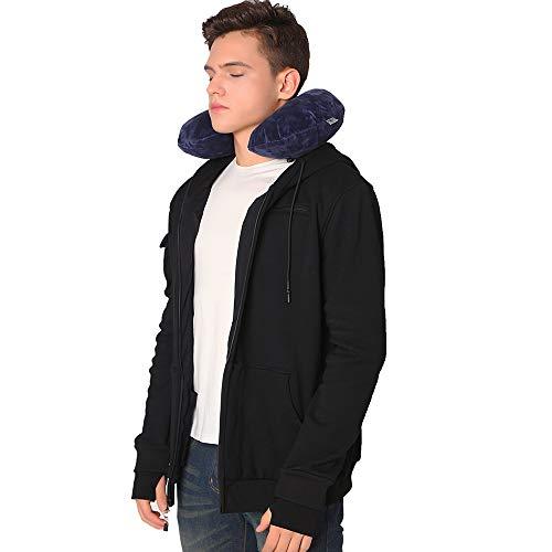 BOMBAX Men Travel Jacket 10 Pocket Zip Up Hoodies Sweatshirt Pillow Eye Mask Black