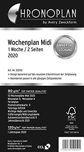 Chronoplan 50250 Kalendereinlage 2020 (Wochenplan Midi in Zeilen (96 x 172 mm), Ersatzkalendarium, ideal für detaillierte Wochenplanung, Universallochung (1 Woche auf 2 Seiten)) weiß