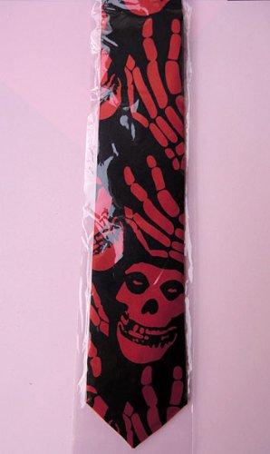 Schwarz-roter Totenkopf-Schlips (Gothic-Krawatte)