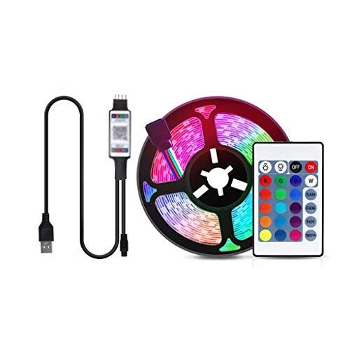 DSFEOIGY Lámpara de Cinta de 5V Bluetooth USB LED Luz de Tira RGB 5050 Luces Decoración for el hogar Cinta LED for TV Closet Cocina Cuarto de baño (Size : 5m)