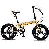 Oanzryybz Haute qualité Vélo Pliant Portable Ultra léger décalage vélo Étudiant Masculin et féminin 18 Pouces (Color : Yellow, Size : 18 inches)