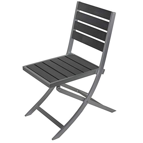 Grey Aluminum/polywood Outdoor Folding Chair Silver Modern Contemporary Aluminum Plastic Water Resistant