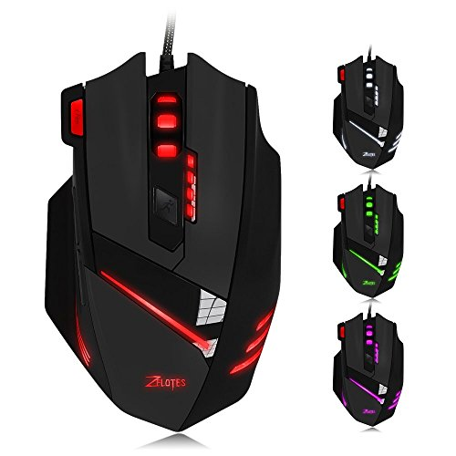 Zelotes T60 USB Gaming Mouse Wired Ergonomic Optical Mice with 7200 DPI 6 Colors LED Light for PC Mac Laptop Desktop(Black)