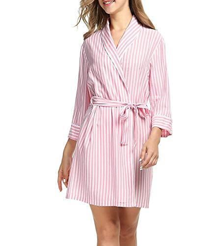 Dames viscose ochtendjas badjas bodywear casual meisjes kimono elegant huispak in strepenlook met zijzakken vrije tijd pyjama slaapwear met 3 4 mouwen