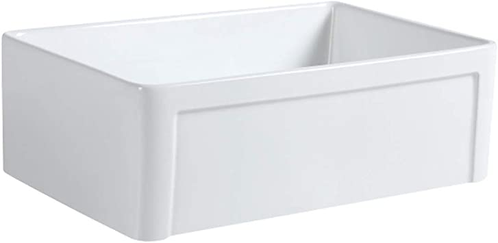 Renovators Supply Geneva Farmhouse Kitchen Sink 30 Inches White Rectangular Vitreous China Porcelain Apron Front Sink Single Bowl Deep Ceramic Undermount Kitchen Sink Including Drain Assembly Amazon Com